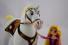 Adventure Rapunzel with Plush Maximus - Tangled: The Series - Disney Store Purchases - Rapunzel Standing in Front of Maximus - Midrange View (drj1828) Tags: us disneystore tangled tangledtheseries doll 2017 purchase posable adventure 10inch 2d deboxed maximus horse plush 15inch