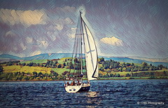Sailing By (Rollingstone1) Tags: yacht sailing sea hills clouds sky scotland greenock firthofclyde art artwork colours inverclyde boat sailingboat awardtree