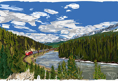 My Drawings - Banff National Park Morants Curve (thor_mark ) Tags: adobedraw adobeillustratordraw albertaprovincialhighwayno1a artdigital atmorantscurve ballrange banffnationalpark banfflakelouisecorearea beginningoftrain blueskieswithclouds bowriver bowvalleyparkway canadianpacificrailway canadianpacificrailwaytrack canadianrockies day2 digitalpainting evergreens freighttrain frontoftrain hillside hillsideoftrees hillsides longstretchoftrain lookingse lookingtocontinentaldivide lookingtomountainsofthecontinentaldivide meadow morantscurve mountains mountainsindistance mountainsoffindistance nature railline railroad railroadtracks railwaytracks river snowcapped southerncontinentalranges stormmountain train traincars trainengine traingoingby trainlocomotive traintrack traintracks traininmotion trees ipad ipaddrawing alberta canada