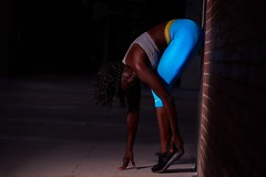 Stretch Out (rubenb.hardwick) Tags: fitness jogger running fit yoga ebony model gym workout lifting muscle hard work blue cyan green yellow grey black white street