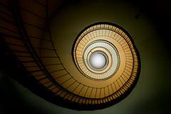 Up into the light (Maerten Prins) Tags: germany duitsland deutschland hamburg stair stairs stairwell flak tower flakturm upshot spiral railing metal light curl