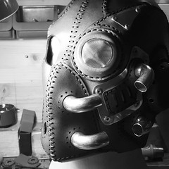 Work in progress #leathermask #steampunkmask #steampunk (tovlade) Tags: face mask cyberpunk cyber goth make up goggles girl punk postapocalyptic postapocalypse black steampunk leather hand made larp cybergoth dieselpunk plague doctor
