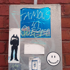 Famous in Québec (Exile on Ontario St) Tags: famous québec fonderie darling foundry vieuxmontréal oldmontreal sticker stickers collants autocollants collant autocollant stickerart streetart montréal quebec makenoize smiley happy face headless faded montreal