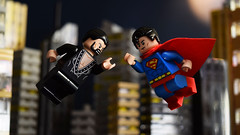 Superman II (Andrew Cookston) Tags: lego dc comics superman ii clarkkent general zod richarddonner christopherreeve terencestamp red yellow blue black 1970s 1980s newyork metropolis moc photoshop purist custom minifig stilllife toy lighting nikon macro photography andrewcookston