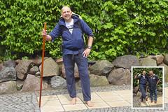 Der Barfußläufer in Altefähr (2100 km) (Carl-Ernst Stahnke) Tags: altefähr wanderer barfusläufer rügen sassnitz rekord villingen therapeut 86tage schweiz klostereinsiedeln barfusrekord stationen 2100kmaufnacktenfüsen fotograf