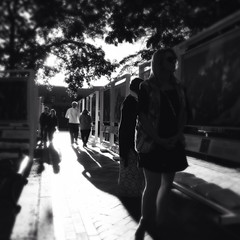 contrejour light at the exhibit (johngpt) Tags: loftuslensblackeysextrafinefilmnoflash santafe silhouette artexhibit people shadows appleiphone5 contrejour places hipstamatic newmexico unitedstates us