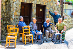 The Daily Routine (George Plakides) Tags: men kambos village troodos coffeehouse traditions menonly chairs coffee trays