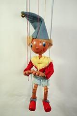 Noddy 1955 (Margaret Stranks) Tags: pelhampuppet handmade marlborough wiltshire uk marionette stringpuppet noddy hat bell scarf shorts