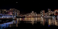 Van City Skyline (Christie : Colour & Light Collection) Tags: vancouver nightscape skyline nightlights nightphotography yacht boat falsecreek bc canada reflections lighting downtown sparkle