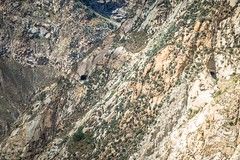Look closely at the mountain side and you can see three tunnel entrances in the canon del pato.