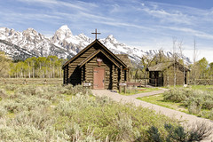 Serene (rschnaible) Tags: grand teton national park wyoming west western us usa landscape serene church old history historic chapel transfiguration mountains rugged snow cap building architecture