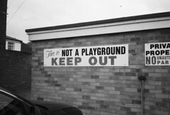 Friendly notices (dark_dave25) Tags: southwold suffolk may 2017 uk england cold sunny bw mono olympus xa