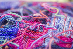 lots of ends to weave (Karen Juliano) Tags: knitting yarn blue ends loose knots koigu purple