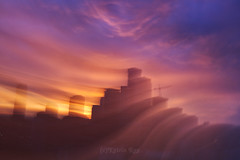 Astro Projection. Cosmic Dimensions of Dream City (Katrin Ray) Tags: astroprojection cosmicdimensionsofdreamcity city cityscape mysterious sunset light energy mysticpurple pink blue peachcoloured goldencoloured layers dimensions colours casle skyscrapers building construction outofbodyexperience longexposure zooming moving sooconlyaddedmysignature downtown toronto ontario canada katrinray dreamscapesoftoronto icm intentionalcameramovement soocstraightoutofcamera noprocessing lightpainting canon eos rebel t6i 750d canonphotography