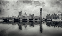 Westminster Bridge (Wet Plate) by Simon & His Camera (Simon & His Camera) Tags: westminster wetplate bigben parliament bridge city urban reflection water river thames tower architecture boat monochrome morning fog mist arch building bw blackandwhite horizon iconic london landscape outdoor simonandhiscamera skyline texture vignette