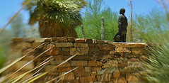 Barry Goldwater Memorial, Phoenix, Arizona (MPnormaleye) Tags: goldwater phoenix arizona southwest senator statue sculpture carving bronze wall stone cactus shrubs desert 35mm lensbaby utata