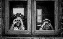 Strangers ahead! (Frank Busch) Tags: frankbusch frankbuschphotography imagebyfrankbusch bw blackwhite blackandwhite children india monochrome nagaland window