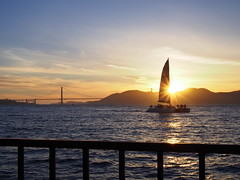 Sailboat in SF Bay (willywillywilly) Tags: sanfrancisco aquaticpark pier sailboat olympus epl5 sunset