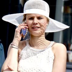 Woman in white . (Franc Le Blanc .) Tags: panasonic lumix hat iphone portret portrait white shertogenbosch woman shadows