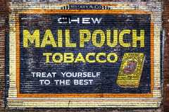 Chew Treat (DetroitDerek Photography ( ALL RIGHTS RESERVED )) Tags: allrightsreserved detroit 313 urban ad advertising mailpouchtobacco chewing tobacco brick painted paint sign blochbrothers walker advertisement treat chew may 2017 canon 5d mkii digital faded yellow red wall michigan midwest old aged weathered eos hdr 3exp detroitderek happymemorialday motown motorcity usa america mail pouch ghostsign