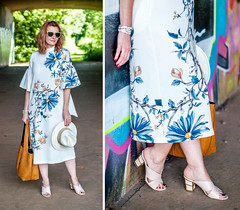 Wedding guest or garden party outfit: Marks & Spencer floral midi dress with flared sleeves \ nude cage heel mules \ pearl sunglasses | Not Dressed As Lamb, over 40 style (Not Dressed As Lamb) Tags: fashion style ootd ss17 outfit fashionista floral dress