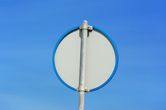 Back of a blue sign (Jan van der Wolf) Tags: map169345v sign verkeersbord blue blauw back simple minimalism monochrome lessismore less simpel