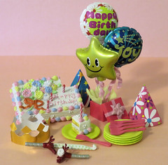 Mini Sweets # 3 (MurderWithMirrors) Tags: rement miniature minisweets birthdaycake cake paperplate plate plasticfork fork candle noisemaker box present balloon crown hat mwm