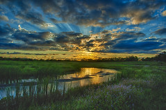 Sunburst over wetland islands (Kansas Poetry (Patrick)) Tags: wetlands nature sky sunset sunbeams color reflections islands patrickemerson patricklovesnancydearly