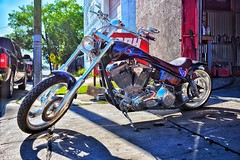 (George Lechtov) Tags: ironhorse d3400 nikon pinstriping pinstripes pinstripe paint bodyshop tires texans wheels backlit handlebars metal bike chopper motorcycle