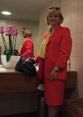 red skirtsuit (Marie-Christine.TV) Tags: feminine transvestite lady mariechristine tgirl tgurl restroom skirtsuit kostüm secretary sekretärin mirror spiegel woman elegant reshot blonde