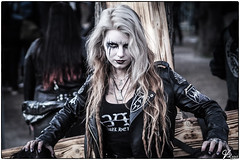 Lady 00.05 (ViTaRu) Tags: olympus omd em10 mzuiko m43 microfourthirds 45mm18 lady woman metalgirl metal blackmetal festival leather pentagram corpsepaint makeup patches concert steelfest hyvinkää suomi finland