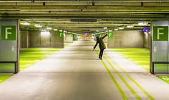 F - Etage (CoolMcFlash) Tags: garage etage person balance repetition corridor empty woman urban canon eos 60d f balancieren row reihe hintereinander room raum korridor leer frau städtisch fotografie photography line linie tamron b008 18270 fun spas