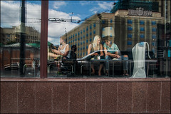 DR150802_0898D (dmitryzhkov) Tags: sit seat sitting two couple scene sky blue reflection conversation converse window eat restaurant cafe glass art city europe russia moscow documentary journalism street urban candid life streetlife outdoor streetscene close streetshot image streetphotography candidphotography streetphoto moment light shadow photography shot people population resident inhabitant person live portrait streetportrait candidportrait unposed public face eyes look stranger woman women lady ladies sony alpha color colors colour colours colourful colorstreet day daylight
