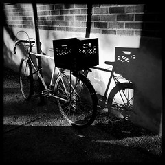 Le recyclage bien utilisé... (woltarise) Tags: montréal plateau bicyclette portebagage lait boîte