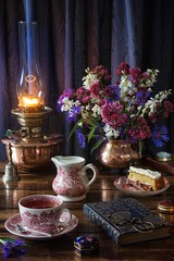 Afternoon Tea & Cake (memoryweaver) Tags: paraffin kerosene light lamp oillamp memoryweaver stilllife flowers cake china cup tea