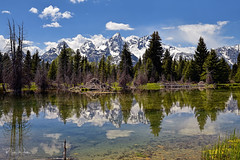 Wonderful Tetons Reflection (markwhitt) Tags: markwhitt markwhittphotography wyoming usa tetons grandtetons grandtetonnationalpark nationalpark usnationalpark mountains water trees pond beaverpond reflections colors colorful scenic scenery beautiful nature landscape travel adventure roadtrip vacation nikon mesmerizing schwabacherslanding