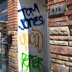 Tom Jones graffiti (Coastal Elite) Tags: montreal montréal graffiti paint tomjones tom jones tag name nom written words peinture spray petitepatrie petite patrie jeantalon jean talon tags tagging dripping yuca dexter