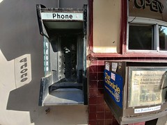 Ghost Phone (RZ68) Tags: payphone booth ghost ship newspaper san francisco chronicle box old vintage cafe coffee shop bay area window open phone silhouette red tile wall shadows gone stripped from urban fragment filth missing lg g6