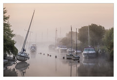 Wareham (pre-dawn) (Dave Fieldhouse Photography) Tags: wareham river riverstour dorset dorsetlife morning predawn sunrise boats boat yacht mist fog reflections reflection fuji fujifilm fujixt2 wwwdavefieldhousephotographycom still stillwater calm tranquil waterways