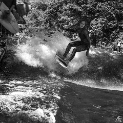 She loves to surf I (axeleckenberger) Tags: bavaria bayern eisbach eisbachsurfer eisbachwelle germany minga munich münchen rolleir350 surfen xequalspresets blackandwhite bw person streetlife streetphotography summer surfborard surfer surfergirl surfing