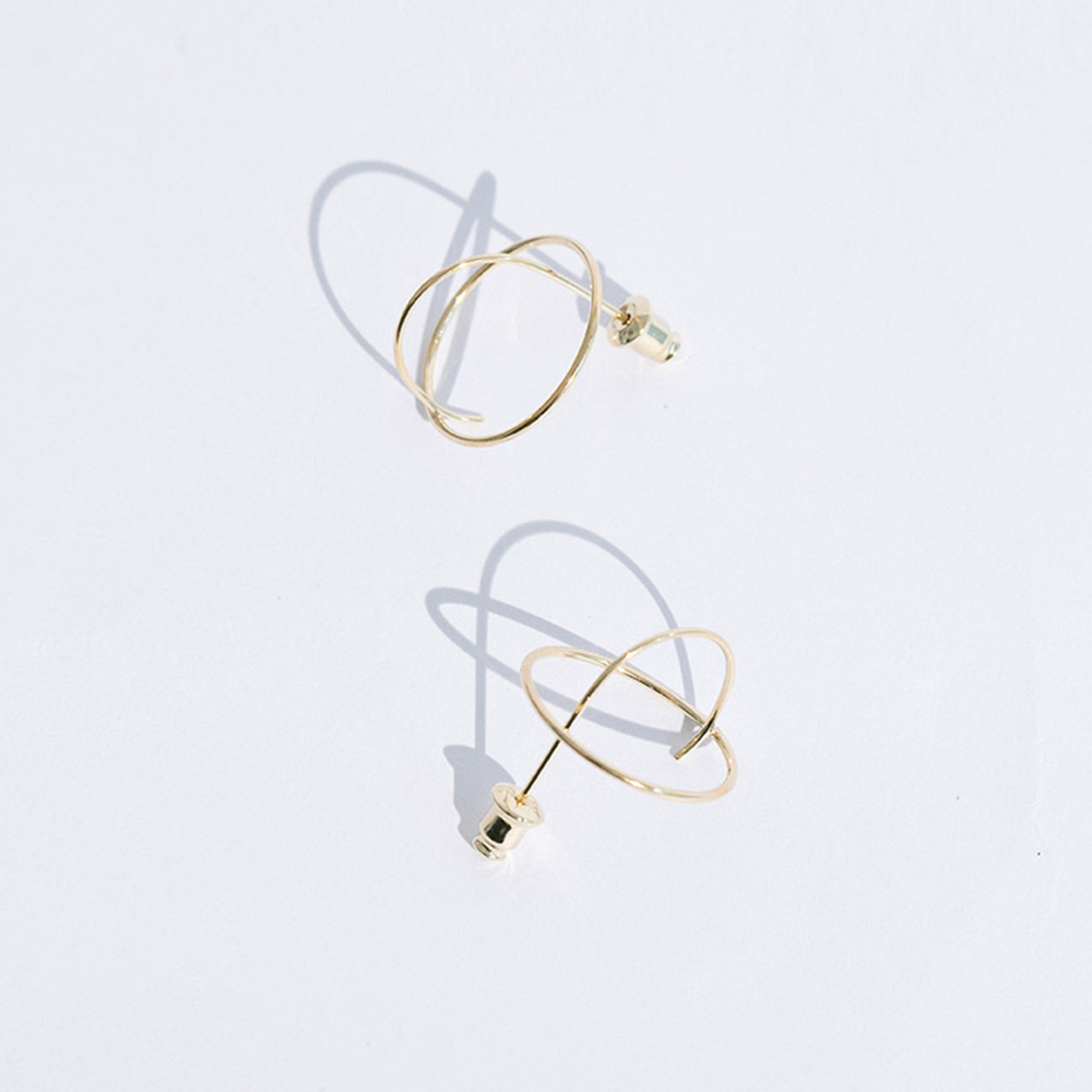 Planet Earrings 925 Sterling Silver Gold Ear Earrings