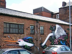 Manchester, Northern Quarter street art (rossendale2016) Tags: forest trees monkey long opposite garage artistic unusual coming out wall red brick through going swans birds iconic clever art street quarter northern manchester