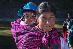 Mother and Child (kate willmer) Tags: mother woman child hat shawl family portrait people pink amantani peru