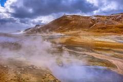 Mud pots and Fumaroles (Herculeus.) Tags: 2017 april clouds country day europe geothermalhotspot hills iceland landscape namafjallhverir ontheroadjokulsarlontomyvatn outdoor outdoors outside spring steam water