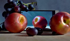 So different and yet the same ! (fdlscrmn) Tags: 7dwf grapes nectarines fruits picture wood pictureinsideapicture colours colorful phone