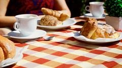 colazione (khrawlings) Tags: cappuccino latte croissant bread check cloth table lucca breakfast tuscany italy