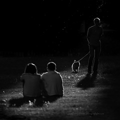 _B5A8499REWS End of the Day, © Jon Perry, 29-8-16 zaz (Jon Perry - Enlightenshade) Tags: jonperry enlightenshade arranginglightcom 29816 20160829 bw park evening lowsun figures dog inthepark chiswick w4 dogwalking walkingthedog