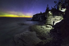 That Evening Glow (andrewpmorse) Tags: brucepeninsula brucepeninsulanationalpark landscape longexposure night nightlights northernlights ontario canada lake lakehuron cliffs stars starscape aurora auroraborealis canon 6d rokanon14mm rokanon nationalpark