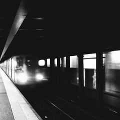 dreams of falling (vfrgk) Tags: train subway urbanfragment urbanbeauty urbanlandscape urbanmoment urbanlife urbanphotography citylife streetshooting blackandwhite bw monochrome melancholic movement transportation lines perspective nyc