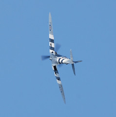 A Spitfire over Brighouse (Halliwell_Michael ## Offline mostlyl ##) Tags: brighouse westyorkshire brighouse1940swe brighouse1940sweekend nikond40x 2017 aircraft airplane spitfire blue battleofbritainmemorialflight